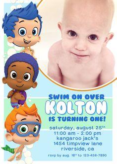 Bubble Guppies Custom Invite (with photo). $12.00, via Etsy.
