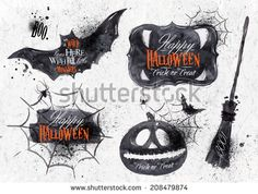 Halloween set, drawn Halloween symbols pumpkin, broom, bat, spider webs, lettering and stylized drawing in vintage style
