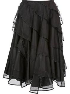 Black skirt from Junya Watanabe Comme Des Garçons featuring a high waist, an A-line cut, a tiered design and a knee length.
