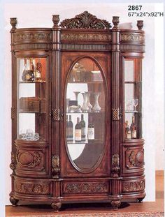 Curio cabinet- These large cabinets are used to store unusual and decorative items, such as wine bottles, glass figures, and small antiques. Victorian Gothic Decor, Victorian Furniture, Victorian Homes, Vintage Furniture, Painted Furniture, Victorian Era, Dream Furniture, Unique Furniture, Home Decor Furniture