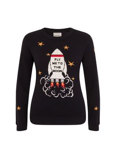 0fddadd7435 The Sharman Fly Me To The Moon Jumper is a long sleeve soft navy knit with.  Joanie Clothing