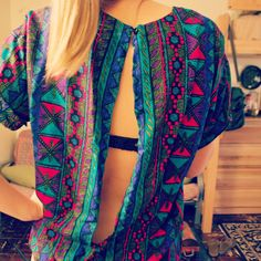 The Wearwithal: DIY Open Back Blouse  cute way to refashion a crazy patterned or grandma ish blouse into something more wearable and under 30 appropriate