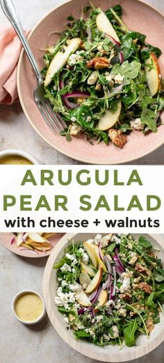 Arugula Pear Salad with Goat Cheese Arugula Pear Salad with Walnuts – A simple, tasty salad with healthy greens, lemon dressing and goat + blue cheese. Perfect for snacking or entertaining. Arugula Salad Recipes, Pasta Salad Recipes, Spinach Salads, Broccoli Salad, Salads With Goat Cheese, Goat Cheese Recipes, Food Salad, Broccoli Recipes, Healthy Recipes