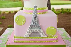 French Open tennis Themed Birthday Party - Eiffel Tower Tennis Ball Cake