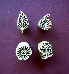 Set of Four Small Botanical Flower Wood Stamps by PrintBlockStamps