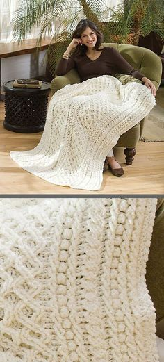 "Lattice Weave Throw, free pattern (LW2914) by Mary Jane Protus for Red Heart. Double diamond lattice, popcorn/bobble, & cable stitches give beautiful texture. 49""x70"", 4368 yds, hook size 'J' #crochet #afghan #blanket"