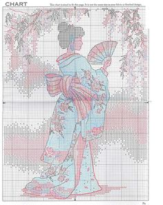 elegant geisha Embroidery Needles, Cross Stitch Embroidery, Hand Embroidery, Cross Stitch Charts, Cross Stitch Designs, Cross Stitch Patterns, Pixel Design, Oriental, Japanese Embroidery