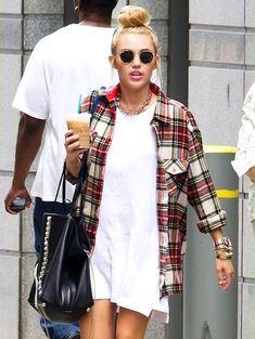 oversized flannel & a cute dress #genius