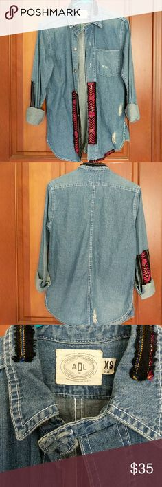 ADL distressed aztec patched denim chambray ADL Artisan de Luxe. Worn only a few times. Great condition and high quality. Size is xs but fits a small as well. ADL Tops Button Down Shirts