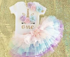 1st Birthday Outfit Girl, 1st Birthday Dresses, First Birthday Shirts, Birthday Tutu, Unicorn Birthday Parties, Unicorn Party, Rainbow Unicorn, Baby Girl Birthday Cake, Half Birthday