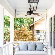 Sunday Porch Swing | Ballard Designs Porch Furniture, Swing Pillow, Porch Swing, Porch Enclosures, Deep Seat Cushions, Outdoor Decor, Porch, Outdoor Living, Ballard Designs