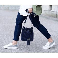 SILVER SNEAKERS & FRAYED JEANS by Important Part