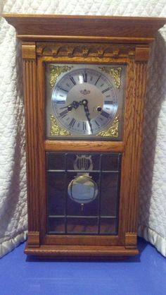 Antique Vintage Wall Clock Solid Wood Key Wind by JMHomeCrafts, $130.00