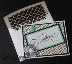 Hand stamped card with matching coordinating envelope.  www.lauraleestamps.com