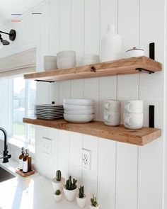 This shelf is on fire, this shelf is on fiiiiire 🎶 We updated our shelves with some new brackets from and they are a perfect… Home Decor Kitchen, Kitchen Interior, New Kitchen, Home Kitchens, Updated Kitchen, Kitchen Taps, Kitchen Shelves, Bathroom Shelves, Cheap Home Decor
