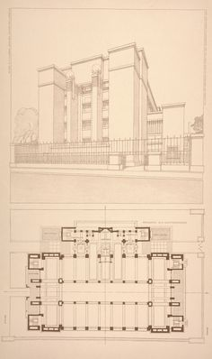 Administration building for the Larkin Co. floor plan and perspective, 1903.