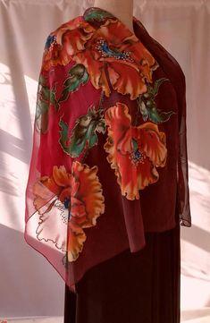 Shawl.Natural silk shawl floralpoppies red hand painted