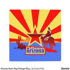 Arizona State Flag Vintage Illustration Wood Coaster