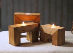 "Reclaimed Wood Candle Holder Set of THREE Tealight Holders Approx Measurements: 3-5"" in Height (7-10cm) Varying heights May have knots, cracks or imperfections. Looking to add some texture to your spa"