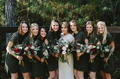Bridesmaids in olive shift dresses