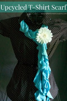 Don't throw that old tee in the trash! Use it to make a cute Upcycled T-Shirt Scarf! Quick, easy and super cute!