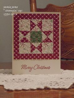 handmade quilt block card: JJ's Christmas 2013 by JJ Rubberduck ... like the embossed texture and the layout ... great card!!
