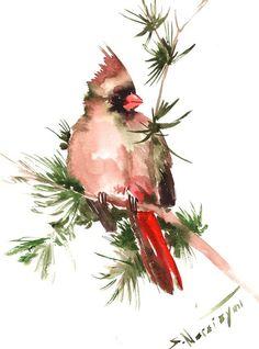 Female Northern Cardinal original watercolor by ORIGINALONLY