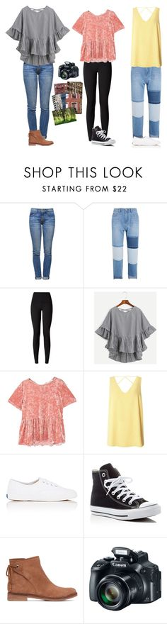 """""""Photoshoot downtown with my best friend"""" by classygrace ❤ liked on Polyvore featuring Current/Elliott, Steve J & Yoni P, lululemon, MANGO, Dorothy Perkins, Keds, Converse and Lucky Brand"""