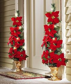 Lighted Flat Back Poinsettia Tree Decoration Christmas Holiday Yard Decor NEW Front Door Christmas Decorations, Christmas Front Doors, Christmas Porch, Noel Christmas, Christmas Centerpieces, Christmas Wreaths, Christmas Ornaments, Christmas Store, Christmas Candle