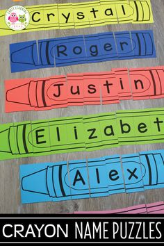 Fun Editable Crayon Name Puzzles. Use them in your preschool, pre-k and kindergarten class to work on name recognition, alphabet knowledge, letter recognition and learning a variety of pre-literacy skills. Perfect for your literacy centers. Name Activities Preschool, Kindergarten Names, Kindergarten Reading, Preschool Classroom, Preschool Learning, Writing Activities, Early Learning, Preschool Activities, Preschool Letters