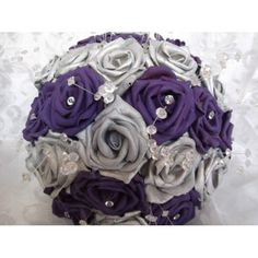 purple and silver bouquets for weddings | Silver and purple wedding brides bridesmaids bouquet with diamantes ...