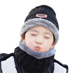 ff1fec585eb 2019 Hot parent child 2pcs super warm Winter balaclava wool Beanies Knitted  Hat and scarf for