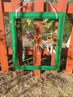 DIY kid weaving board.  Staple chicken wire to the back of an old picture frame and spray paint the entire thing.  Kids pick leaves and flowers to weave through the loom.