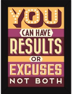 Naxart 'Results Not Excuses' Framed Textual Art on Canvas Size: H x W x D Cool Posters, Quote Posters, Classroom Motivational Posters, Success Poster, Canvas Size, Canvas Art, Best Business Plan, Life Poster, Pain Quotes