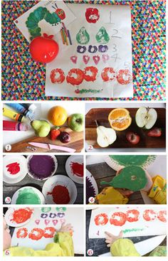 Very hungry caterpillar fruit stamps  http://www.kidspot.com.au/kids-activities-and-games/Craft-activities+1/Very-Hungry-Caterpillar-fruit-stamps+11896.htm