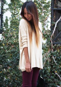 Perfect. Now I need to find a sweater like that to go with my burgundy skinny jeans.