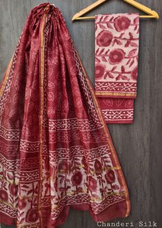 Price Rs 1600 + Shipping extra Hand block Printed chanderi silk dress materials Top and dupattas chanderi silk (2.50×2 mtrs) Bottom cotton (2.50 meters) Silk Suit, Chanderi Silk Saree, Silk Sarees, Suits, Exclusive Collection, Sari, Pure Products, Printed, Blouse