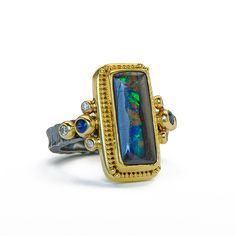 oxidized sterling silver 22kt gold granulation opal ring