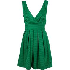 Stripe Tie Back Dress By Wal G** ($53) ❤ liked on Polyvore featuring dresses, women, striped cotton dress, striped pleated dress, pleated dress, green stripe dress and green cotton dress