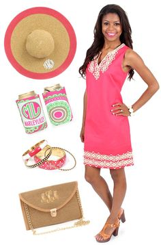 With this outfit you will be sure to make a statement at the #derby! Get all your derby essentials from marleylilly.com + mondaydress.com now! #hat #derby #shiftdress #monogram #clutch #love #ootd #musthave