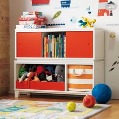 District Modern Storage Bench Bookcase with Bin, The Land of Nod Cube Storage Bench, Modern Storage Bench, Wall Storage, Toy Storage, Bookcase Storage, Storage Baskets, Cool Bookshelves, Bookshelves Kids, Bookcases