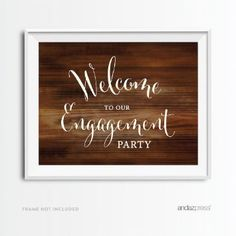 Andaz Press Wedding Party Signs, Rustic Wood Print, 8.5x11-inch, Welcome to our Engagement Party, 1-Pack, Decor Decorations for Country Western Themed Event