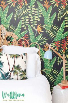 Heliconia Flower and Exotic Leaves Wallpaper - Removable Wallpaper - Palm Wall Sticker - Heliconia Flower Self Adhesive Wallpaper