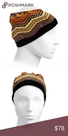 Missoni Beanie Wool-blend beanie with signature multicolored design Wool/acrylic Dry clean Made in Italy Missoni Accessories Hats