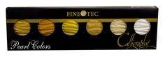 FineTec golds remain one of our most popular items. This palette offers a high quality mica color set in six shades(five golds and one sterling). It can be mixed for use with brushes, pointed pens, or broad edge pens. One palette will last quite some time because the brilliant color does not require heavy amounts of layering.