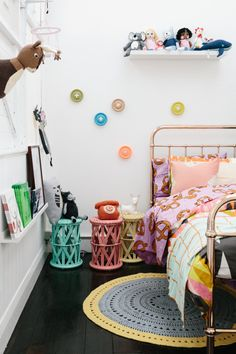 Big bright buttons on the wall. / kids room