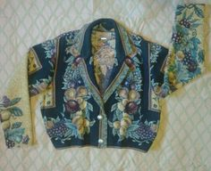 PAINTED PONY Fruit Print Tapestry Jacket USA slouchy Boho womens Medium 2 button #PaintedPony #BasicJacket