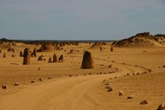 Le désert des Pinnacles Le parc national de Nambung, en Australie occidentale, est un théâtre géologique à ciel ouvert. Le désert des Pinnacles en est la preuve. A environ trois heures de route depuis Perth, en plein cœur d'un désert de sable jaune, des aiguilles rocheuses fatiguées par le temps se dressent pour créer un paysage mystérieux quasi lunaire. Composés de coquillages fossilisés, ces