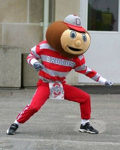 Ohio State football would not be the same without their mascot, Brutus the Buckeye! Buckeyes Football, Ohio State Football, Ohio State University, Ohio State Buckeyes, College Football, Football Memes, Oklahoma Sooners, American Football, Buckeye Game