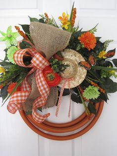 ORANGE GARDEN HOSE Wreath Straw Hat Butterfly Pin Wheel Spring Wreath Summer Wreath Mother's Day Gift Wreath Free Shipping